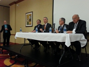 Ray McCarty (left) moderates the panel on MoDOT funding. (Left to Right) Sen. Doug Libla, HIghways and Transportation Chairman Stephen Miller, American Council of Engineering Companies of Missouri president Bruce Wylie, Mike Right, vice president of AAA Automobile Club of Missouri.