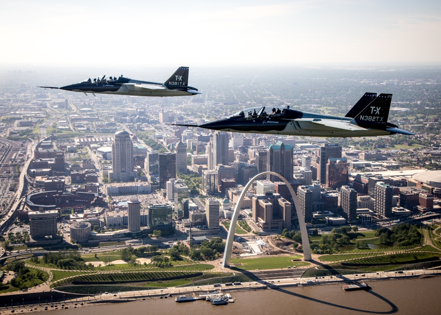 Two Boeing T-X over STL Arch PUBLIC_high-res